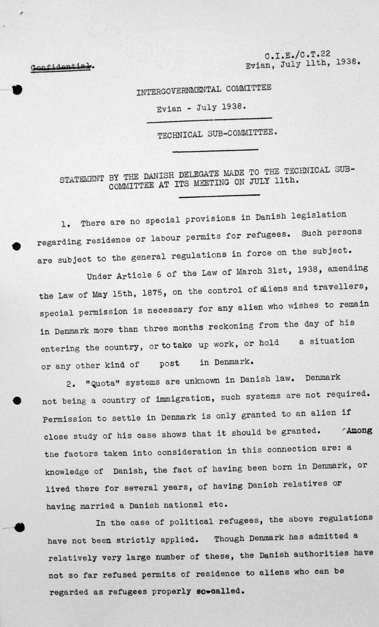 Stellungnahme des dänischen Delegierten für das Technische Unterkomitee bei dessen Sitzung am 11. Juli 1938, S. 1/3 Franklin D. Roosevelt Library, Hyde Park, NY
