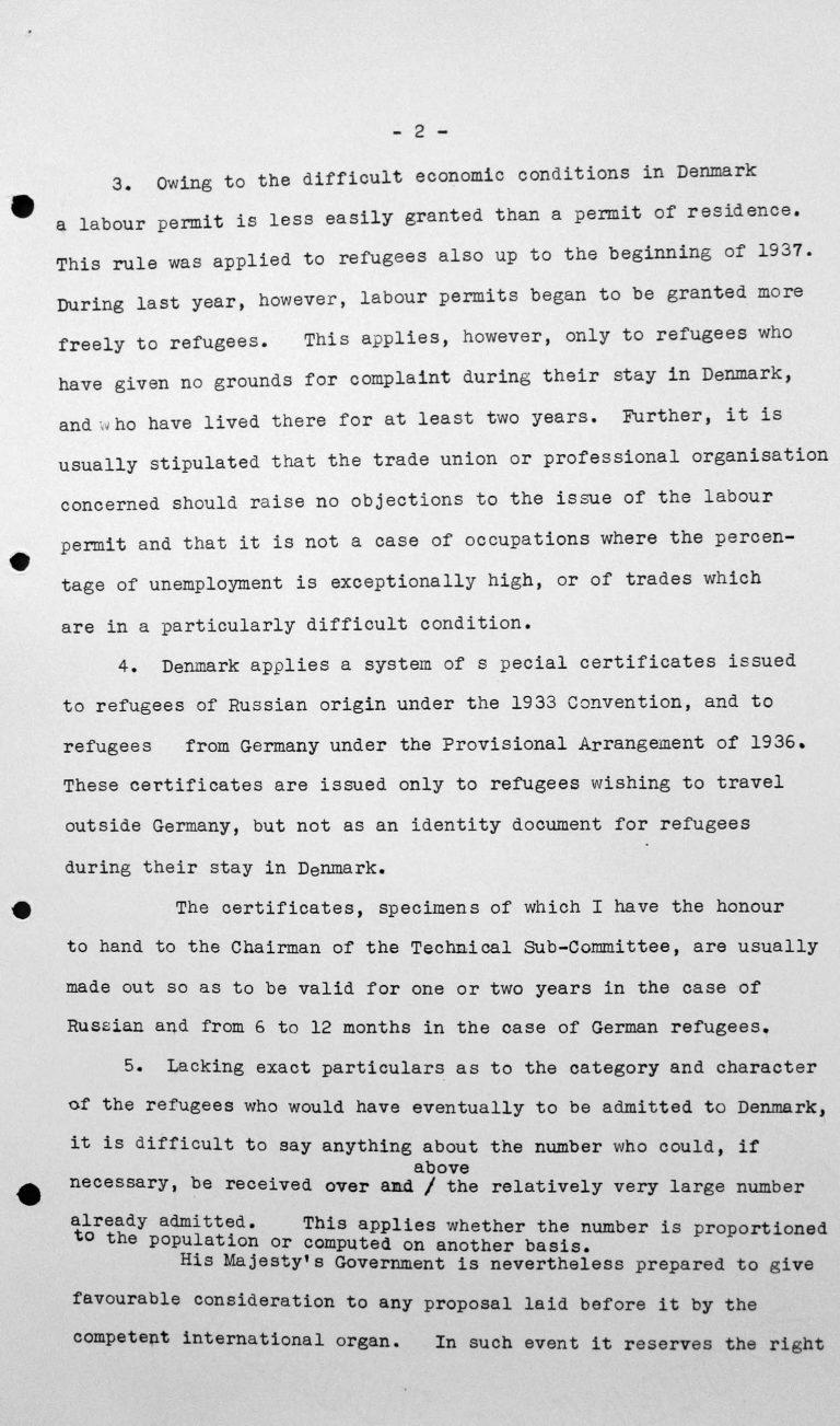 Stellungnahme des dänischen Delegierten für das Technische Unterkomitee bei dessen Sitzung am 11. Juli 1938, S. 2/3 Franklin D. Roosevelt Library, Hyde Park, NY