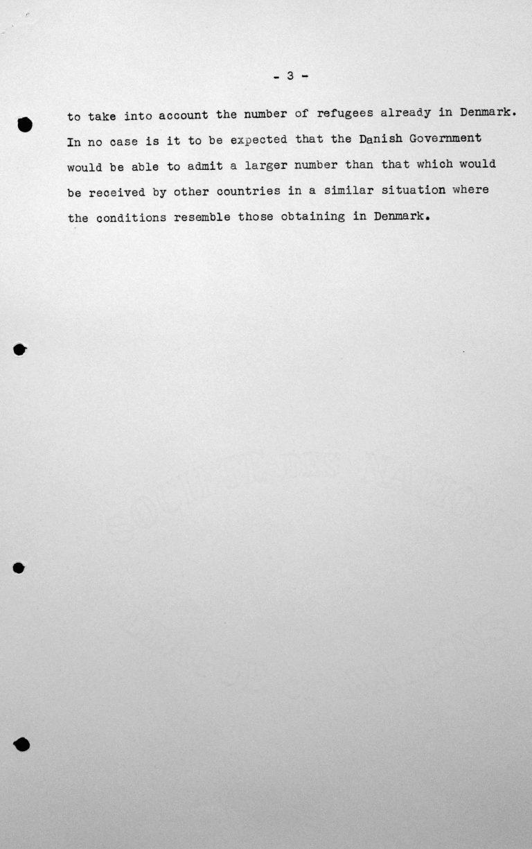 Stellungnahme des dänischen Delegierten für das Technische Unterkomitee bei dessen Sitzung am 11. Juli 1938, S. 3/3 Franklin D. Roosevelt Library, Hyde Park, NY