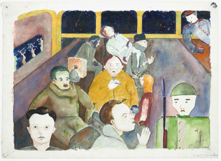 Auf der Flucht von Norwegen nach Schweden Aquarell von Dodo Kroner vom 9. April 1940 Jüdisches Museum Berlin