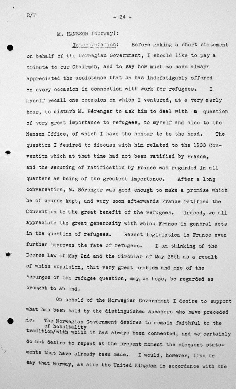 Stellungnahme von Michael Hansson (Norwegen) in der öffentlichen Sitzung am 6. Juli 1938, 16 Uhr, S. 1/2 Franklin D. Roosevelt Library, Hyde Park, NY