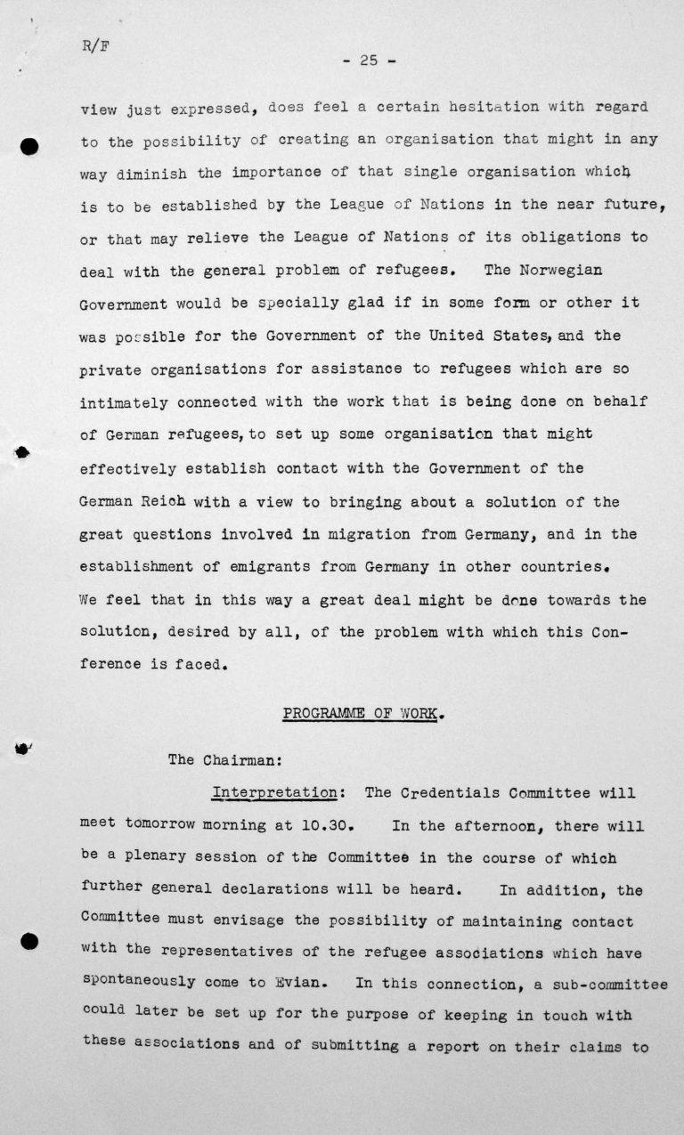 Stellungnahme von Michael Hansson (Norwegen) in der öffentlichen Sitzung am 6.7.1938, 16 Uhr, S. 2/2 Franklin D. Roosevelt Library, Hyde Park, NY