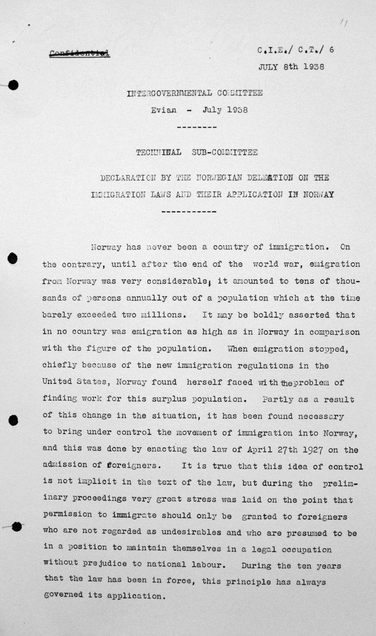 Erklärung der norwegischen Delegation für das Technische Unterkomitee über die Einwanderungsgesetze und ihre Anwendung in Norwegen, 8. Juli 1938, S. 1/3 Franklin D. Roosevelt Library, Hyde Park, NY
