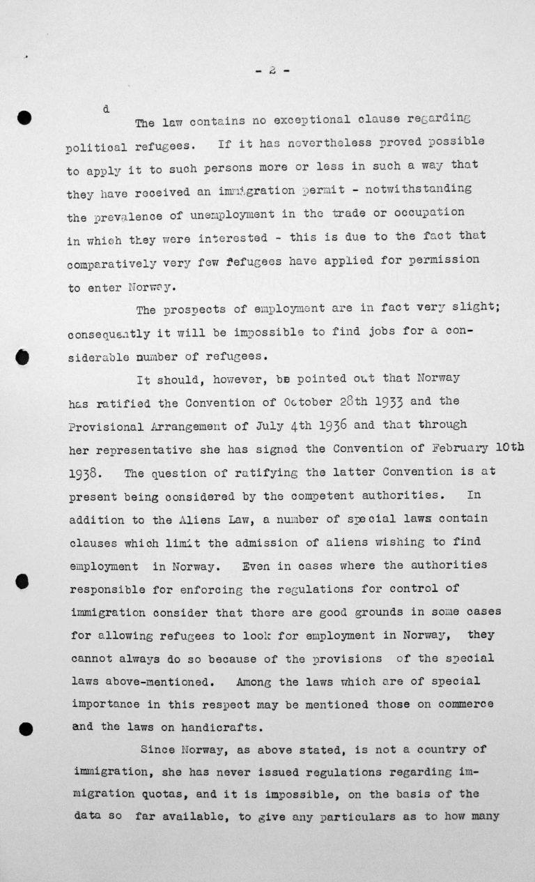 Erklärung der norwegischen Delegation für das Technische Unterkomitee über die Einwanderungsgesetze und ihre Anwendung in Norwegen, 8. Juli 1938, S. 2/3 Franklin D. Roosevelt Library, Hyde Park, NY