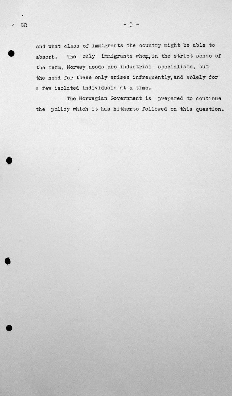Erklärung der norwegischen Delegation für das Technische Unterkomitee über die Einwanderungsgesetze und ihre Anwendung in Norwegen, 8. Juli 1938, S. 3/3 Franklin D. Roosevelt Library, Hyde Park, NY