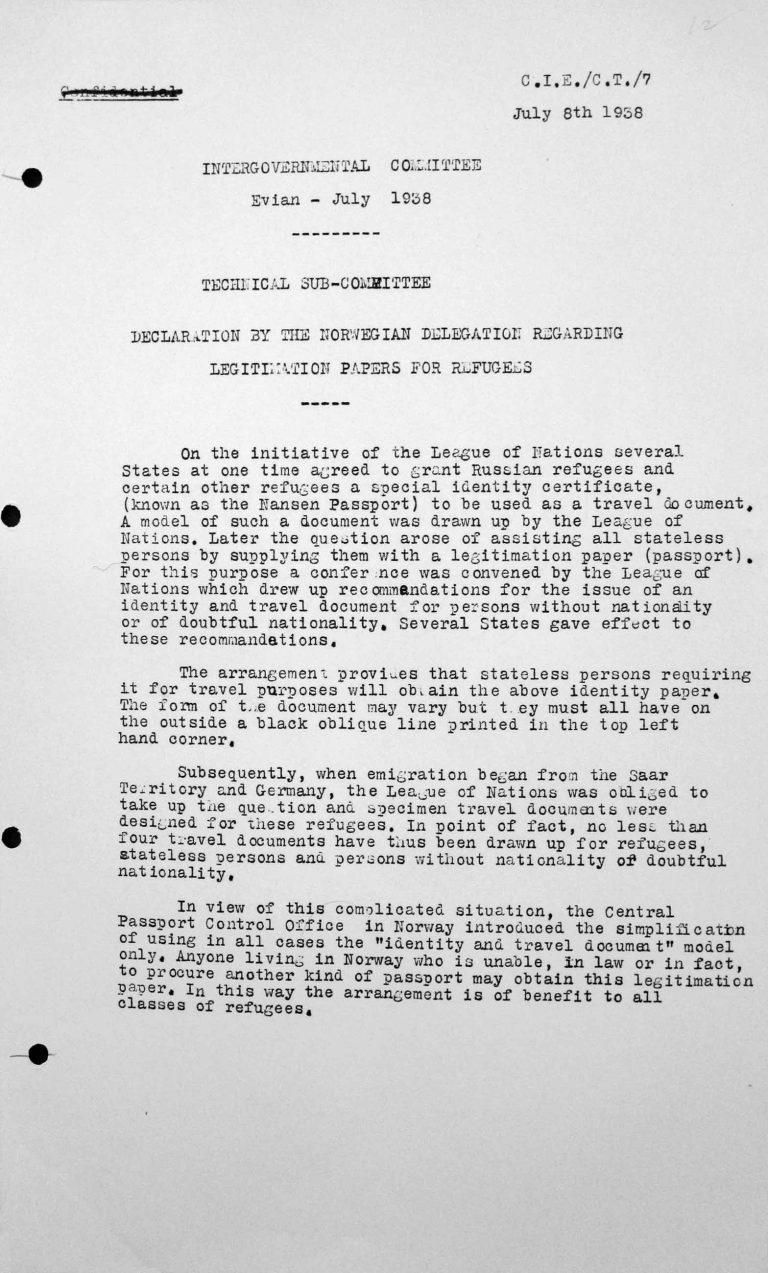 Erklärung der norwegischen Delegation für das Technische Unterkomitee betreffend Ausweisdokumente für Flüchtlinge, 8. Juli 1938 Franklin D. Roosevelt Library, Hyde Park, NY