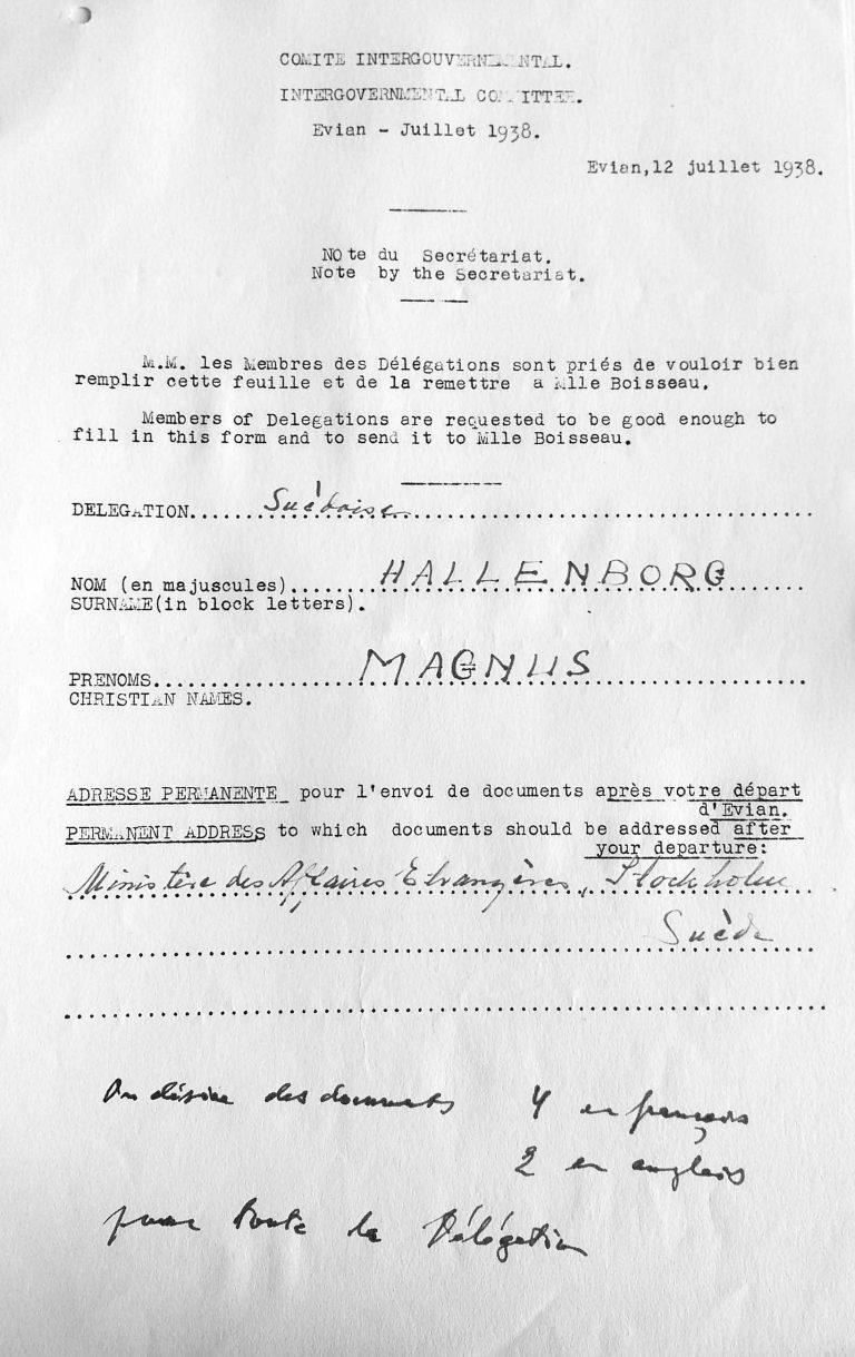 Registrierungsbogen für Carl Albert Magnus Hallenborg bei der Konferenz, 12. Juli 1938 United Nations Archives, Genf