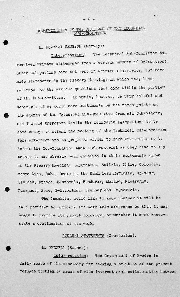 Stellungnahme von Gösta Engzell (Schweden) in der öffentlichen Sitzung am 11. Juli 1938, 11 Uhr, S. 1/5 Franklin D. Roosevelt Library, Hyde Park, NY