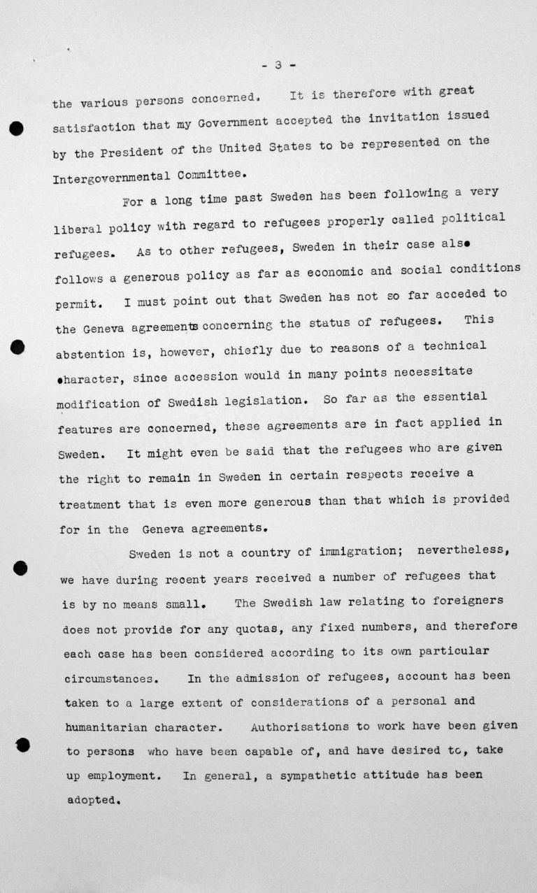 Stellungnahme von Gösta Engzell (Schweden) in der öffentlichen Sitzung am 11. Juli 1938, 11 Uhr, S. 2/5 Franklin D. Roosevelt Library, Hyde Park, NY