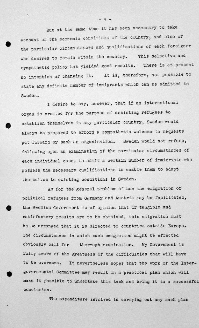 Stellungnahme von Gösta Engzell (Schweden) in der öffentlichen Sitzung am 11. Juli 1938, 11 Uhr, S. 3/5 Franklin D. Roosevelt Library, Hyde Park, NY