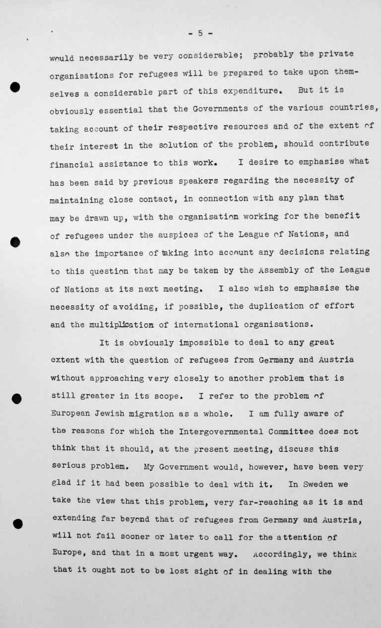 Stellungnahme von Gösta Engzell (Schweden) in der öffentlichen Sitzung am 11. Juli 1938, 11 Uhr, S. 4/5 Franklin D. Roosevelt Library, Hyde Park, NY