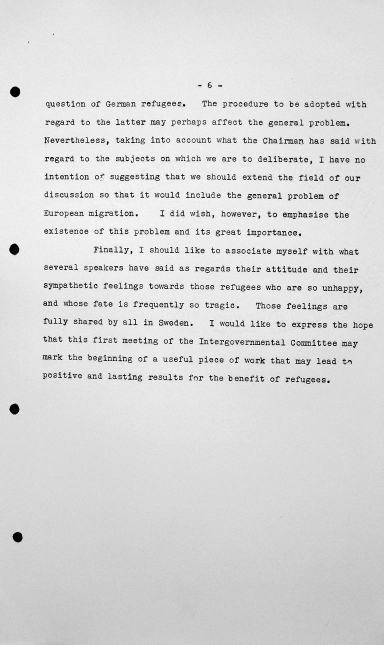 Stellungnahme von Gösta Engzell (Schweden) in der öffentlichen Sitzung am 11. Juli 1938, 11 Uhr, S. 5/5 Franklin D. Roosevelt Library, Hyde Park, NY