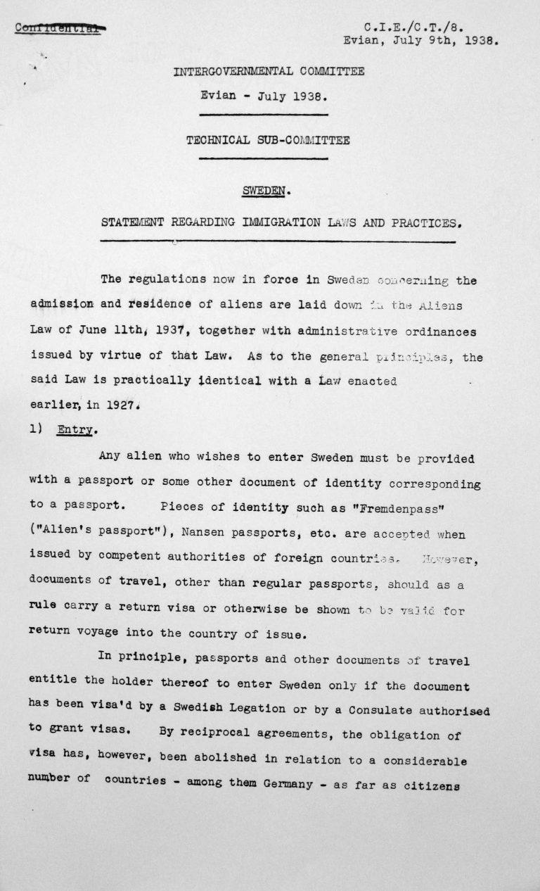 Stellungnahme Schwedens für das Technische Unterkomitee über Einwanderungsgesetze und ihre Anwendung, 9. Juli 1938, S. 1/5 Franklin D. Roosevelt Library, Hyde Park, NY