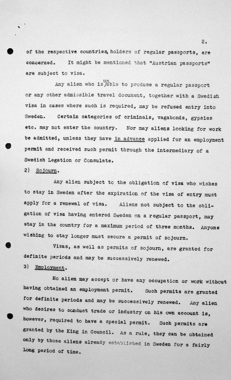 Stellungnahme Schwedens für das Technische Unterkomitee über Einwanderungsgesetze und ihre Anwendung, 9. Juli 1938, S. 2/5 Franklin D. Roosevelt Library, Hyde Park, NY