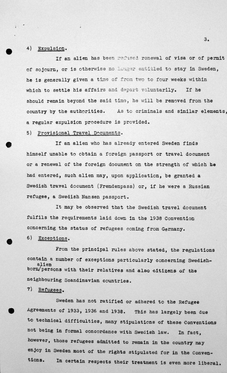 Stellungnahme Schwedens für das Technische Unterkomitee über Einwanderungsgesetze und ihre Anwendung, 9. Juli 1938, S. 3/5 Franklin D. Roosevelt Library, Hyde Park, NY