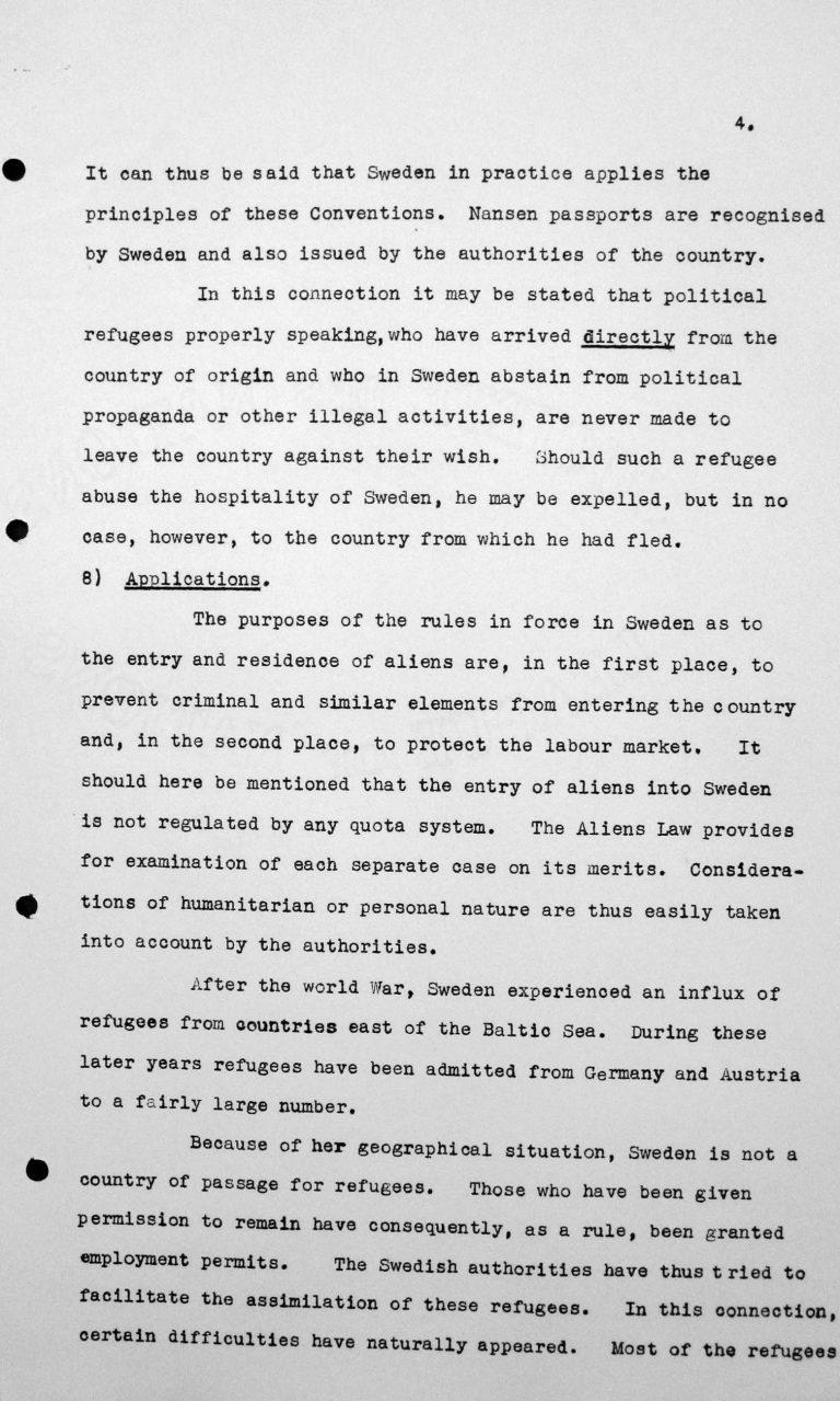 Stellungnahme Schwedens für das Technische Unterkomitee über Einwanderungsgesetze und ihre Anwendung, 9. Juli 1938, S. 4/5 Franklin D. Roosevelt Library, Hyde Park, NY
