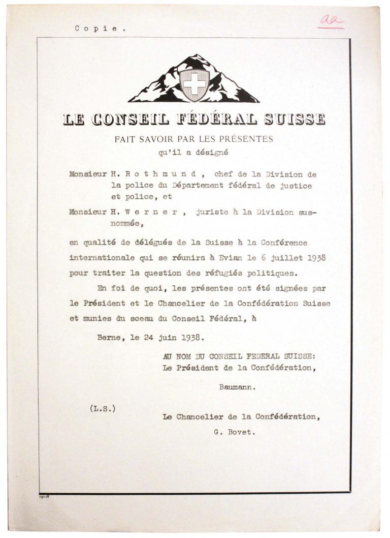 Schweizerischer Bundesrat: Beglaubigungsschreiben für Heinrich Rothmund und Henri Werner, 24. Juni 1938 Schweizerisches Bundesarchiv, Bern, E2001D#10001553#5760
