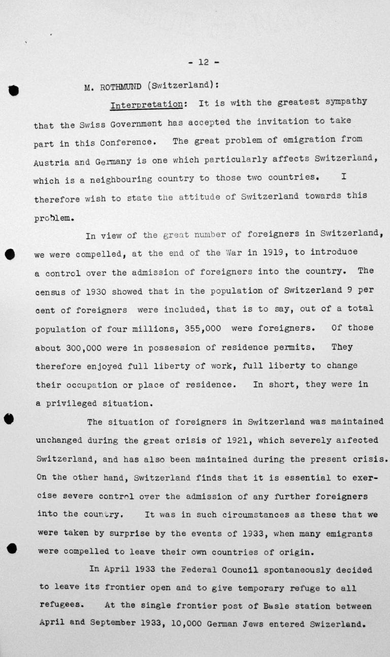 Stellungnahme von Heinrich Rothmund (Schweiz) in der öffentlichen Sitzung am 11. Juli 1938, 11 Uhr, S. 1/5 Franklin D. Roosevelt Library, Hyde Park, NY