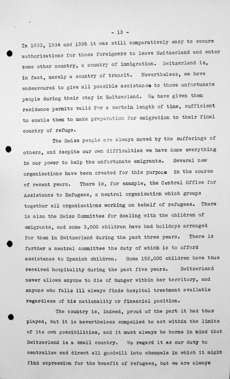 Stellungnahme von Heinrich Rothmund (Schweiz) in der öffentlichen Sitzung am 11. Juli 1938, 11 Uhr, S. 2/5 Franklin D. Roosevelt Library, Hyde Park, NY