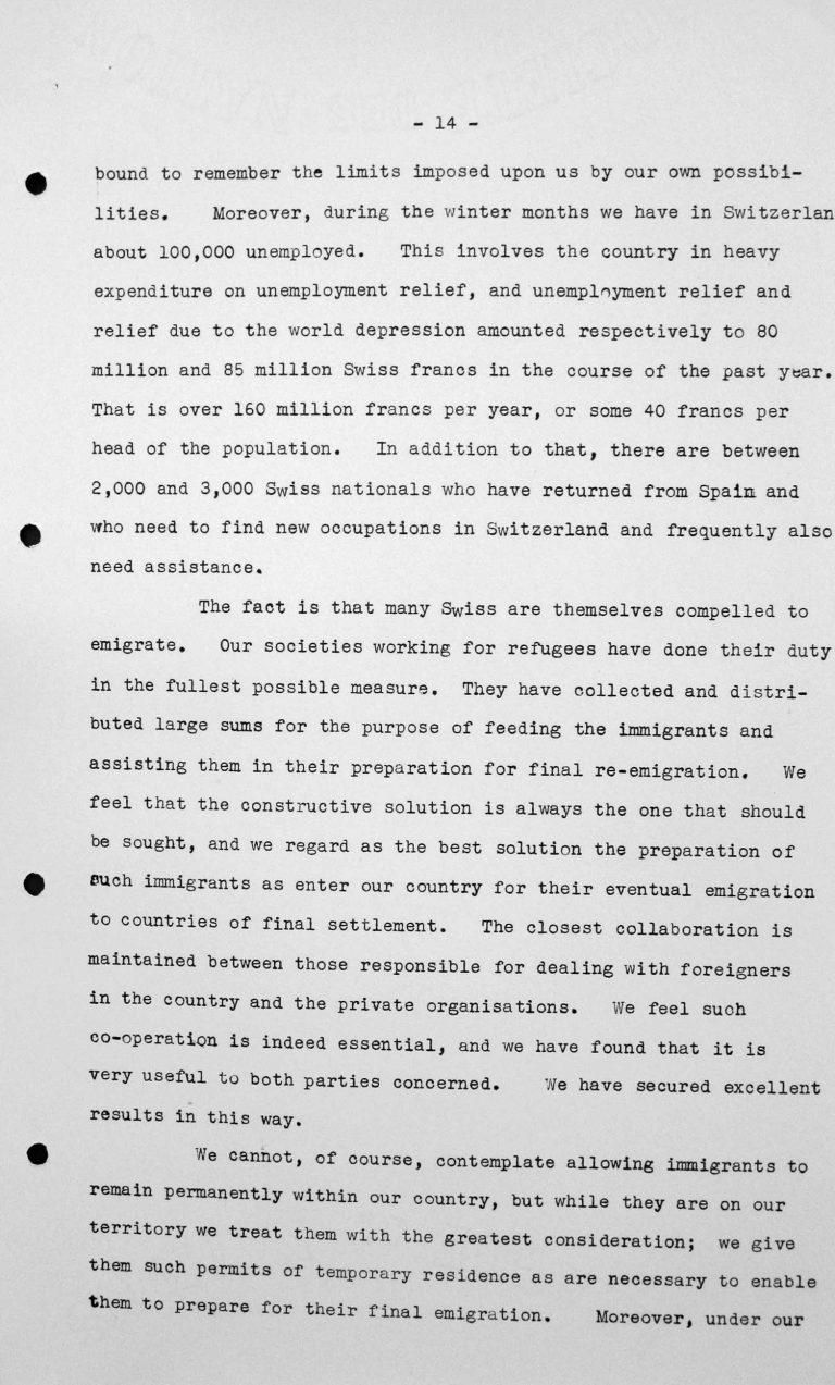 Stellungnahme von Heinrich Rothmund (Schweiz) in der öffentlichen Sitzung am 11. Juli 1938, 11 Uhr, S. 3/5 Franklin D. Roosevelt Library, Hyde Park, NY