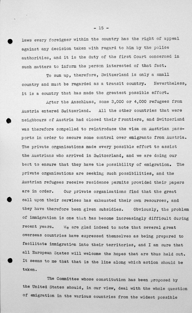 Stellungnahme von Heinrich Rothmund (Schweiz) in der öffentlichen Sitzung am 11. Juli 1938, 11 Uhr, S. 4/5 Franklin D. Roosevelt Library, Hyde Park, NY