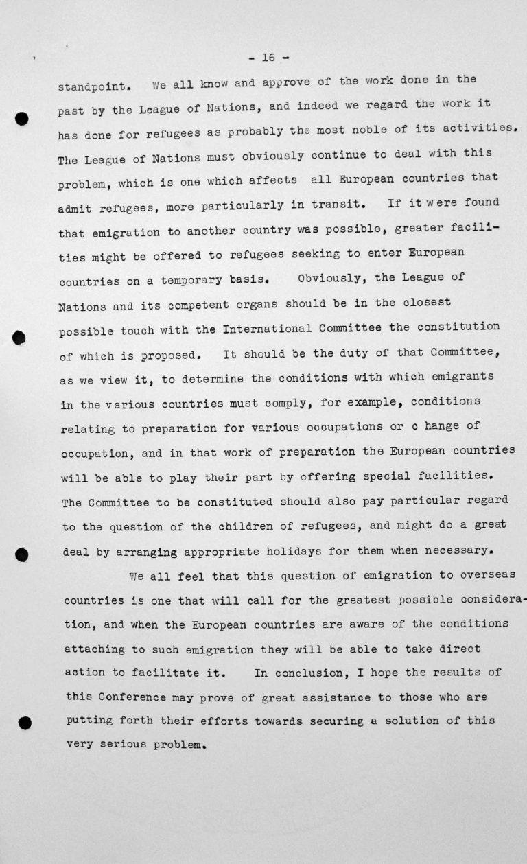 Stellungnahme von Heinrich Rothmund (Schweiz) in der öffentlichen Sitzung am 11. Juli 1938, 11 Uhr, S. 5/5 Franklin D. Roosevelt Library, Hyde Park, NY