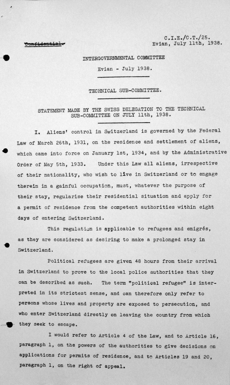 Stellungnahme der schweizerischen Delegation für das Technische Unterkomitee, 11. Juli 1938, S. 1/2 Franklin D. Roosevelt Library, Hyde Park, NY