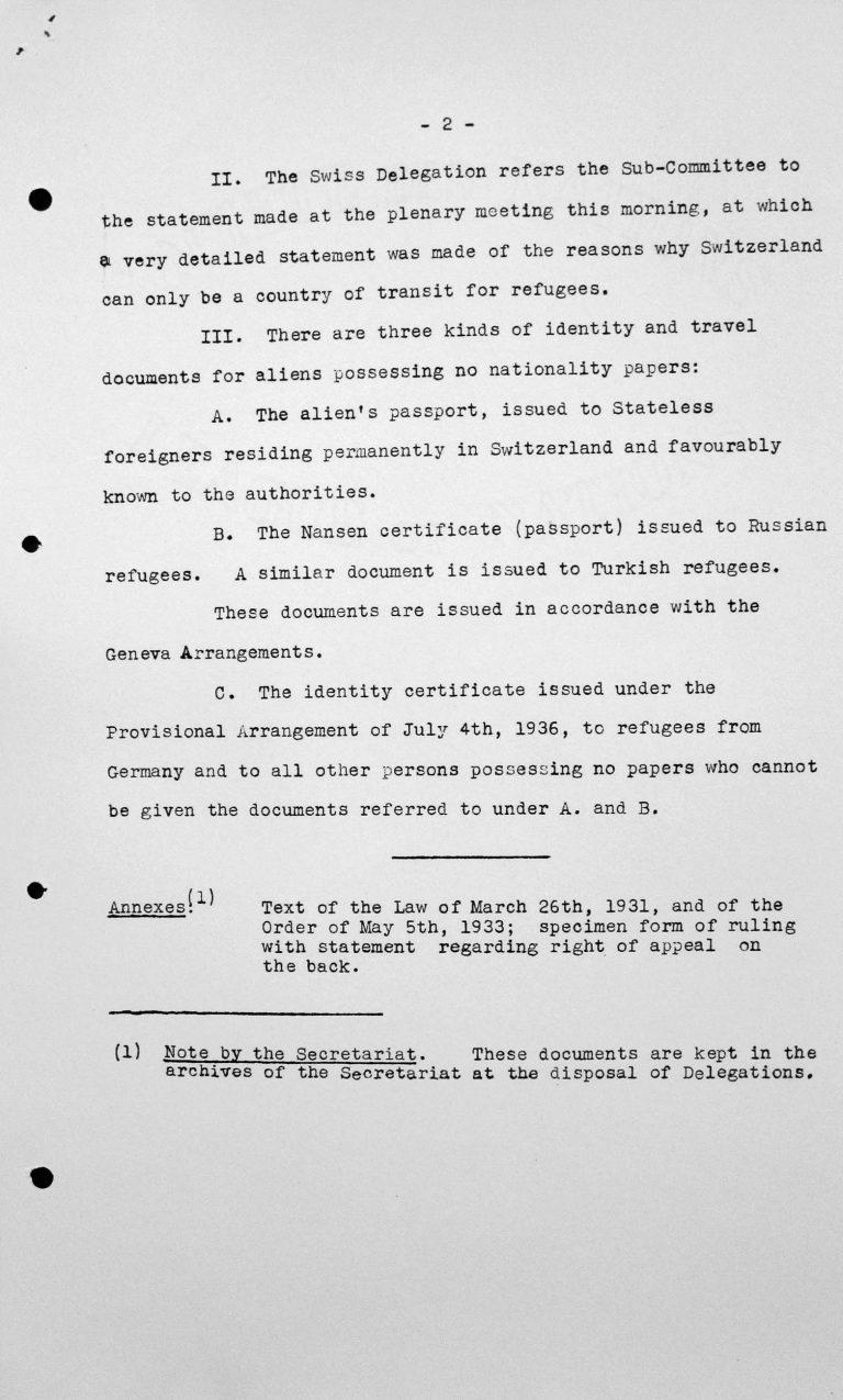 Stellungnahme der schweizerischen Delegation für das Technische Unterkomitee, 11. Juli 1938, S. 2/2 Franklin D. Roosevelt Library, Hyde Park, NY
