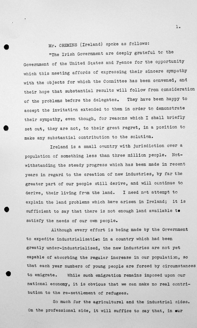 Statement by Francis Thomas Cremins (Ireland) in the public session on July 11, 1938, 11am, p. 1/2 Franklin D. Roosevelt Library, Hyde Park, NY