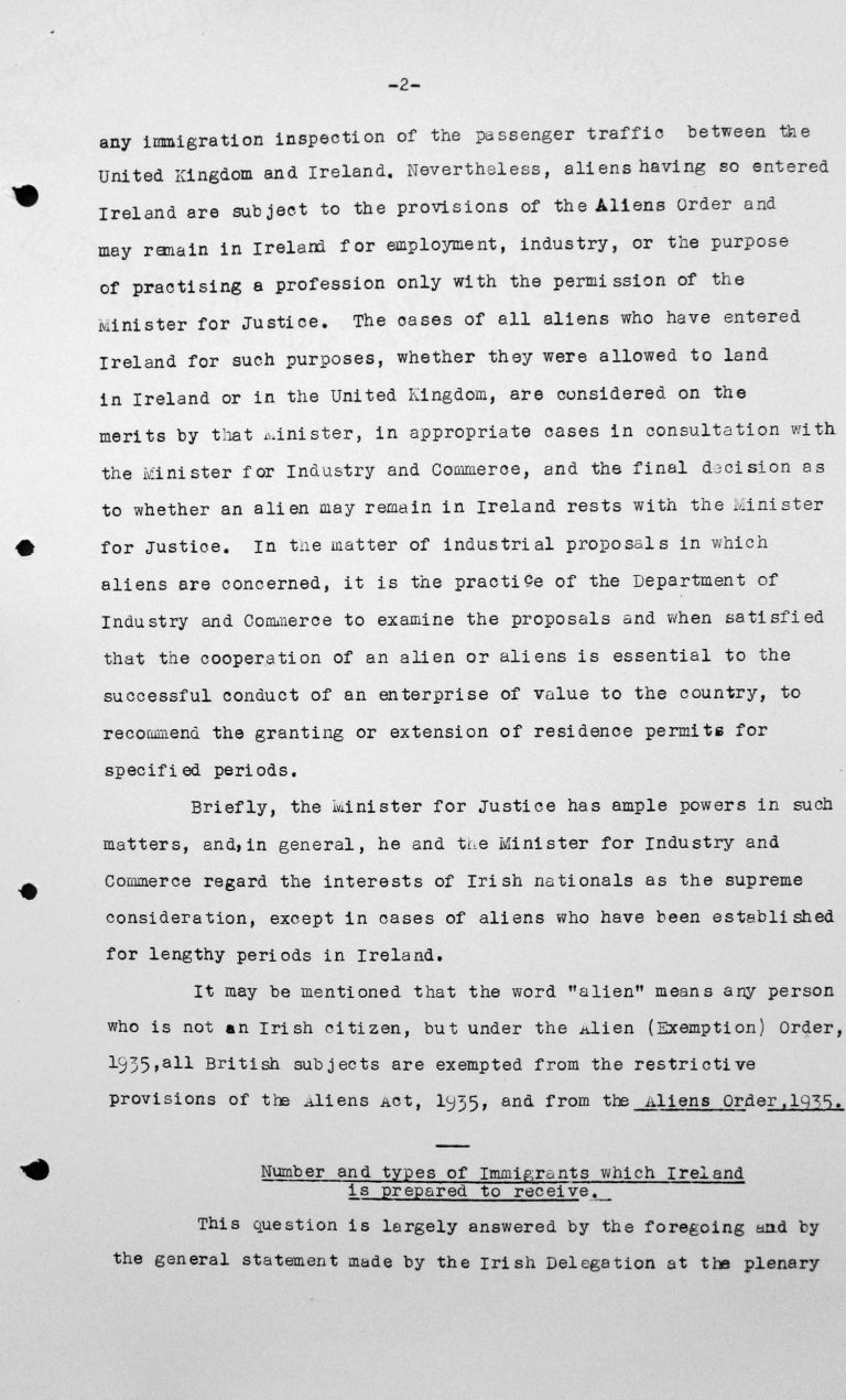 Statement by the Irish delgation for the Technical Sub-Committee, Juli 11, 1938, p. 2/3 Franklin D. Roosevelt Library, Hyde Park, NY