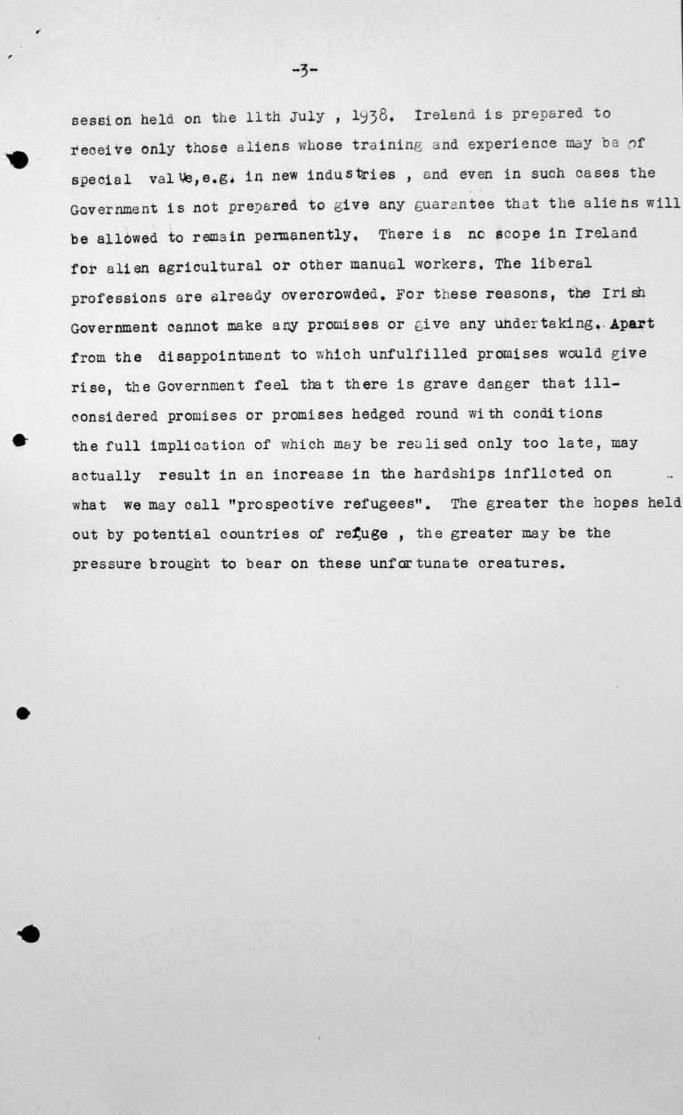 Statement by the Irish delgation for the Technical Sub-Committee, Juli 11, 1938, p. 3/3 Franklin D. Roosevelt Library, Hyde Park, NY