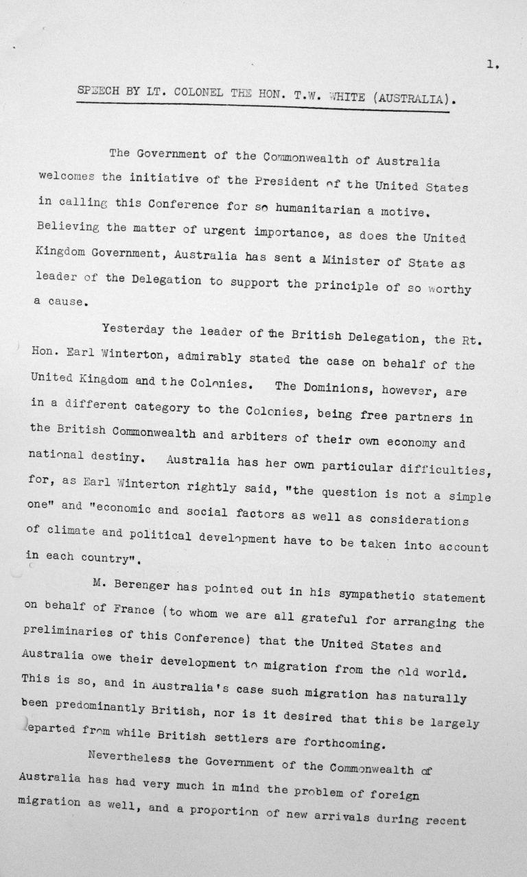 Rede von Oberstleutnant Thomas W. White (Australien) in der öffentlichen Sitzung am 7. Juli 1938, 15.30 Uhr, S. 1/2 Franklin D. Roosevelt Library, Hyde Park, NY