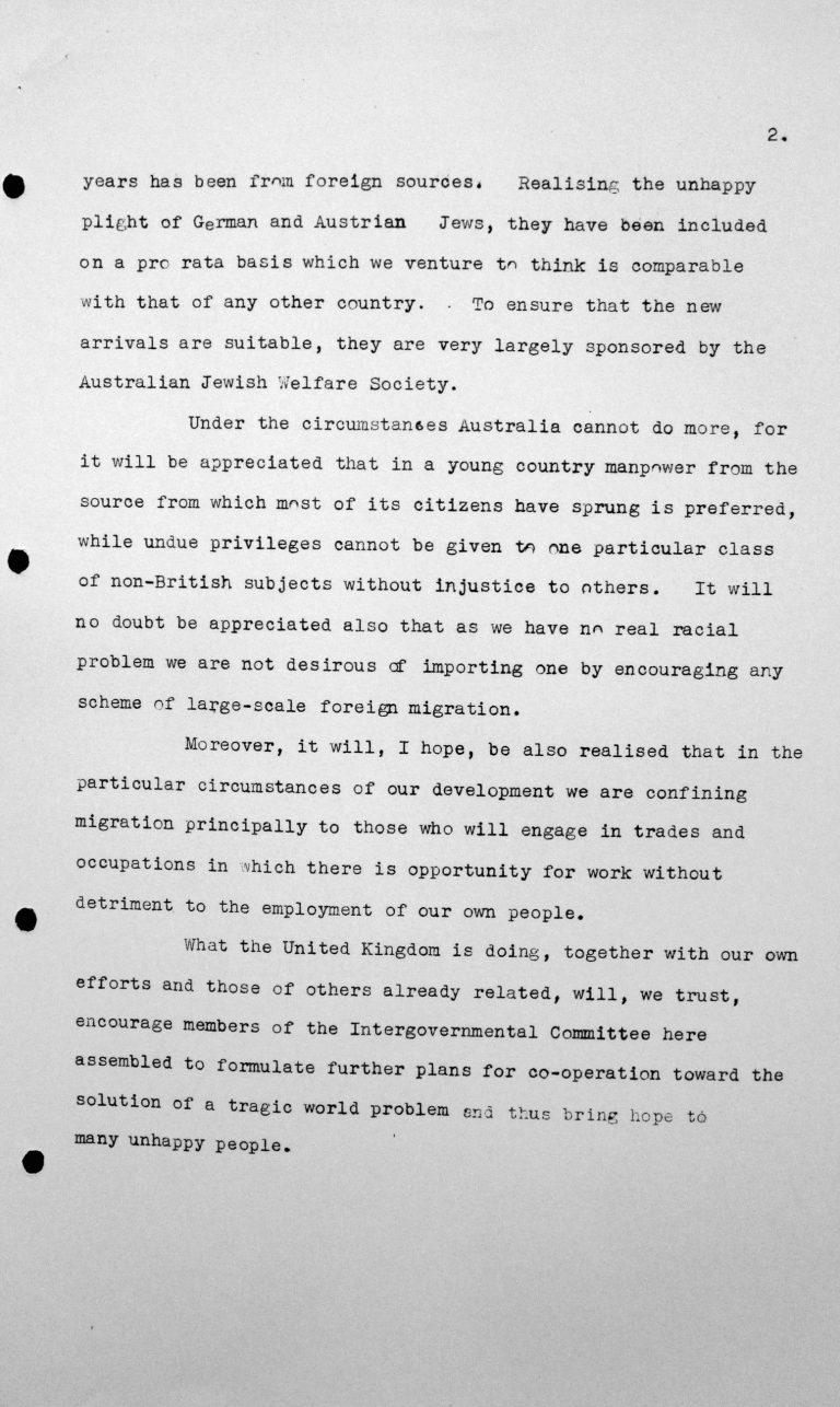 Rede von Oberstleutnant Thomas W. White (Australien) in der öffentlichen Sitzung am 7. Juli 1938, 15.30 Uhr, S. 2/2 Franklin D. Roosevelt Library, Hyde Park, NY