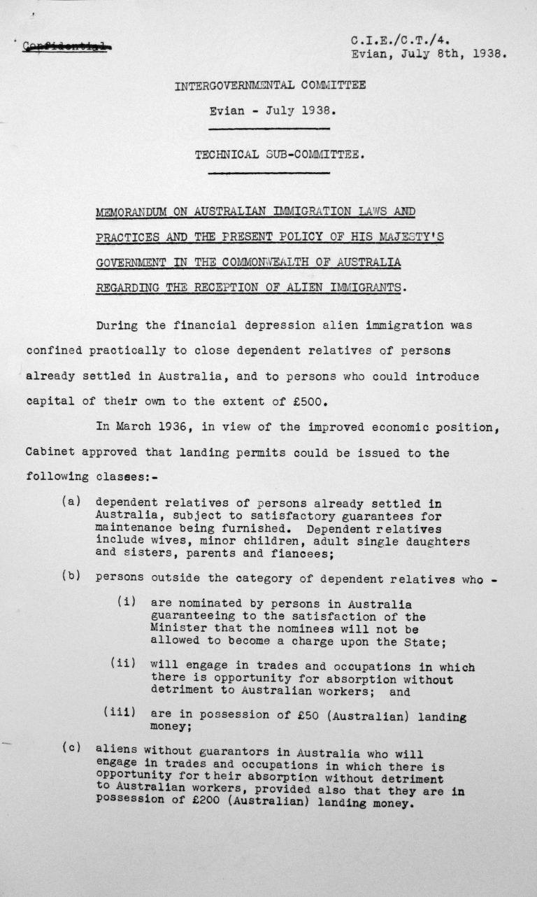Denkschrift für das Technische Unterkomitee über die australischen Einwanderungsgesetze und ihre Anwendung sowie die gegenwärtige Politik der Regierung Ihrer Majestät im Commonwealth Australien hinsichtlich der Aufnahme fremder Einwanderer, 8. Juli 1938, S. 1/2 Franklin D. Roosevelt Library, Hyde Park, NY
