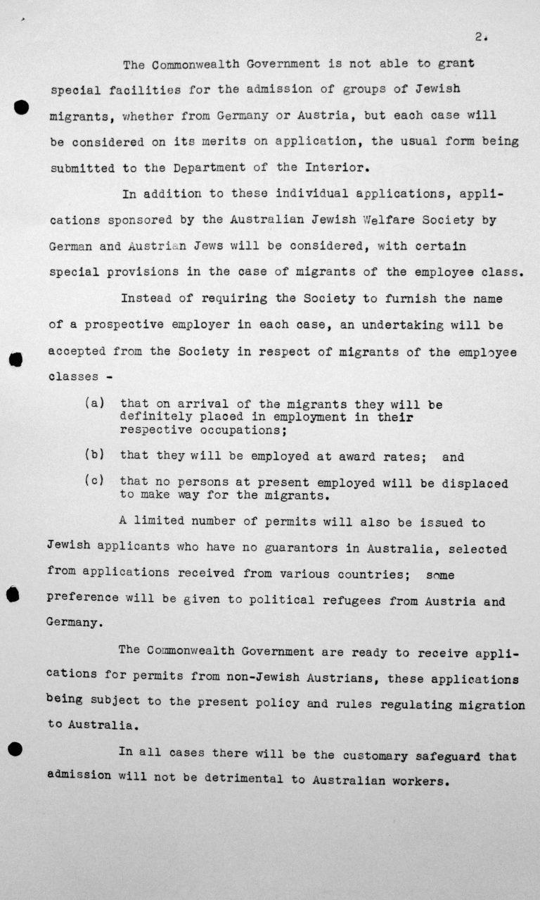 Denkschrift für das Technische Unterkomitee über die australischen Einwanderungsgesetze und ihre Anwendung sowie die gegenwärtige Politik der Regierung Ihrer Majestät im Commonwealth Australien hinsichtlich der Aufnahme fremder Einwanderer, 8. Juli 1938, S. 2/2 Franklin D. Roosevelt Library, Hyde Park, NY
