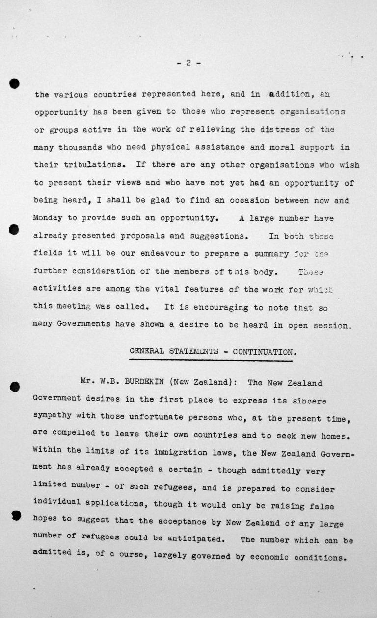 Stellungnahme von Cyril B. Burdekin (Neuseeland) in der öffentlichen Sitzung am 9. Juli 1938, 11 Uhr, S. 1/2 Franklin D. Roosevelt Library, Hyde Park, NY