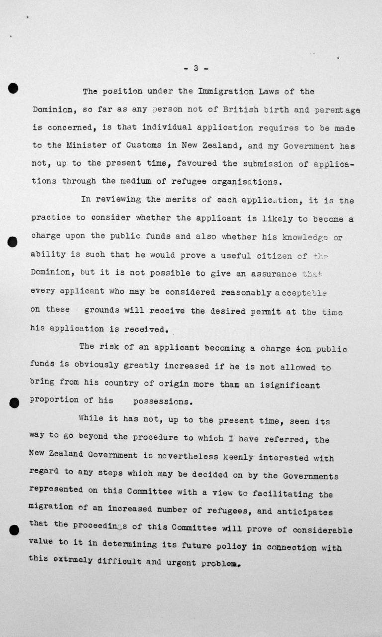 Stellungnahme von Cyril B. Burdekin (Neuseeland) in der öffentlichen Sitzung am 9. Juli 1938, 11 Uhr, S. 2/2 Franklin D. Roosevelt Library, Hyde Park, NY