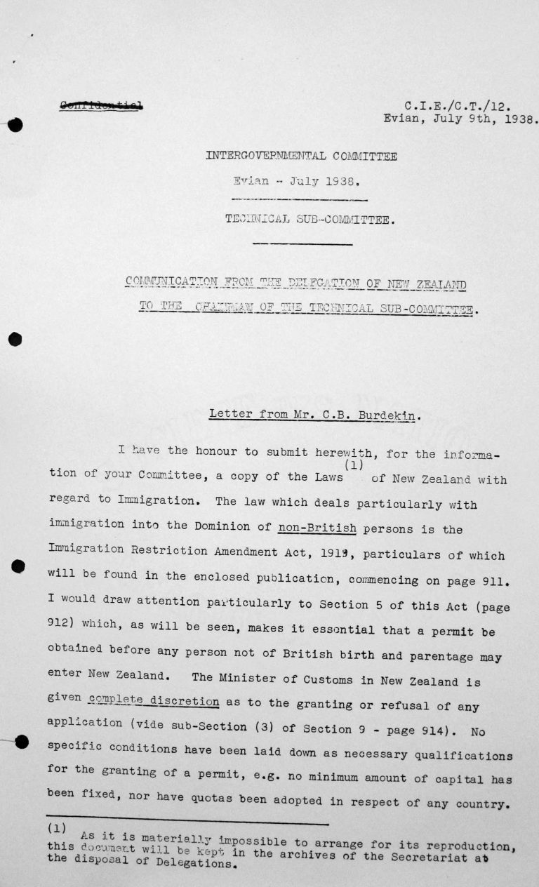 Communication from the delegation of New Zealand to the Chairman of the Technical Sub-Committee, July 9, 1938, p. 1/3 Franklin D. Roosevelt Library, Hyde Park, NY