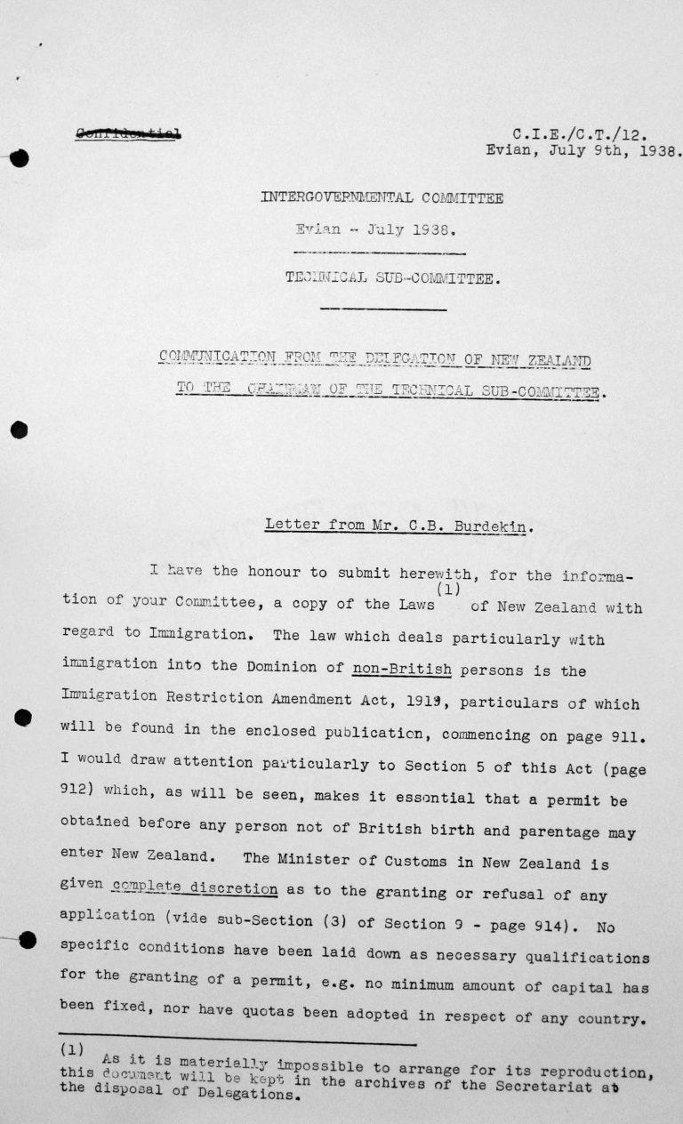 Mitteilung der Delegation Neuseelands an den Vorsitzenden des Technischen Unterkomitees, 9. Juli 1938, S. 1/3 Franklin D. Roosevelt Library, Hyde Park, NY