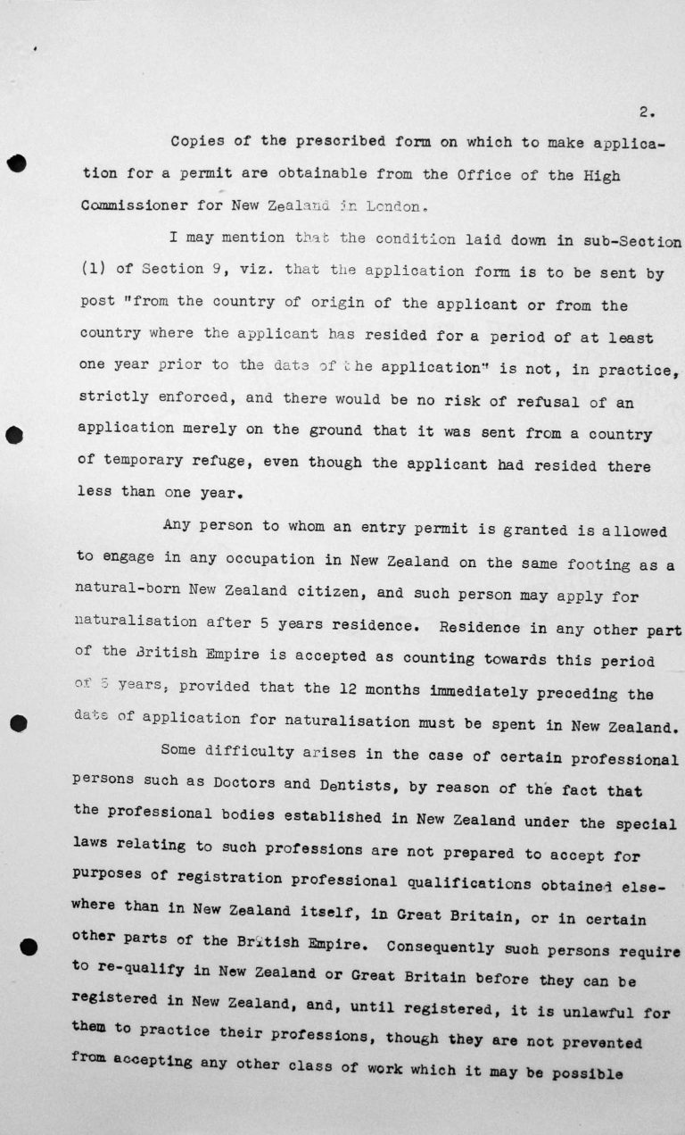 Communication from the delegation of New Zealand to the Chairman of the Technical Sub-Committee, July 9, 1938, p. 2/3 Franklin D. Roosevelt Library, Hyde Park, NY