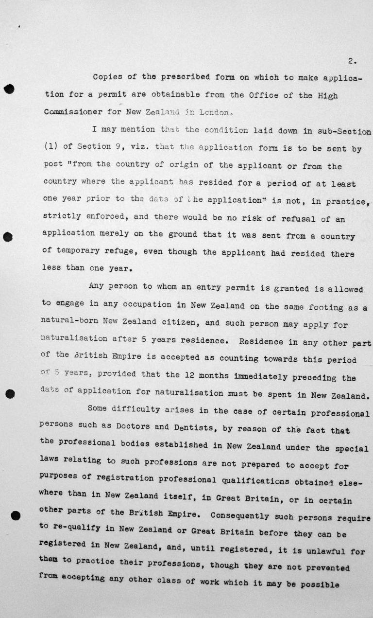 Mitteilung der Delegation Neuseelands an den Vorsitzenden des Technischen Unterkomitees, 9. Juli 1938, S. 2/3 Franklin D. Roosevelt Library, Hyde Park, NY