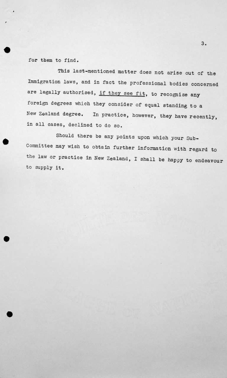 Communication from the delegation of New Zealand to the Chairman of the Technical Sub-Committee, July 9, 1938, p. 3/3 Franklin D. Roosevelt Library, Hyde Park, NY