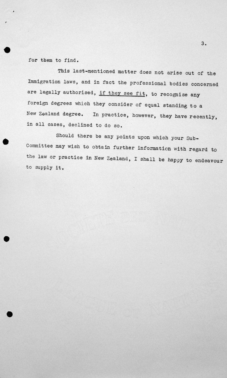 Mitteilung der Delegation Neuseelands an den Vorsitzenden des Technischen Unterkomitees, 9. Juli 1938, S. 3/3 Franklin D. Roosevelt Library, Hyde Park, NY
