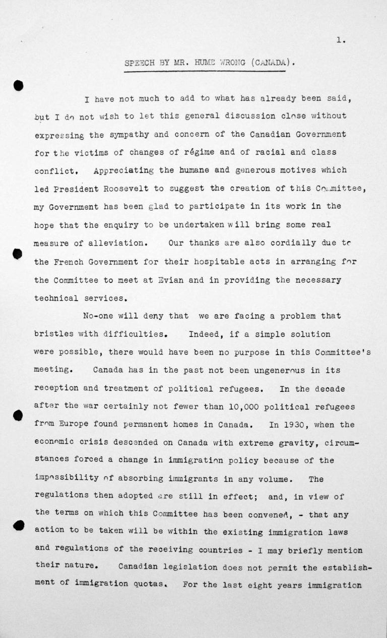 Speech by Humphrey Hume Wrong (Canada) in the public session on July 7, 1938, 3.30pm, p. 1/3 Franklin D. Roosevelt Library, Hyde Park, NY