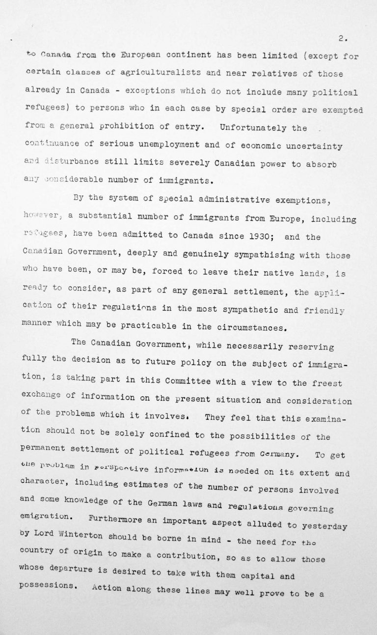 Speech by Humphrey Hume Wrong (Canada) in the public session on July 7, 1938, 3.30pm, p. 2/3 Franklin D. Roosevelt Library, Hyde Park, NY