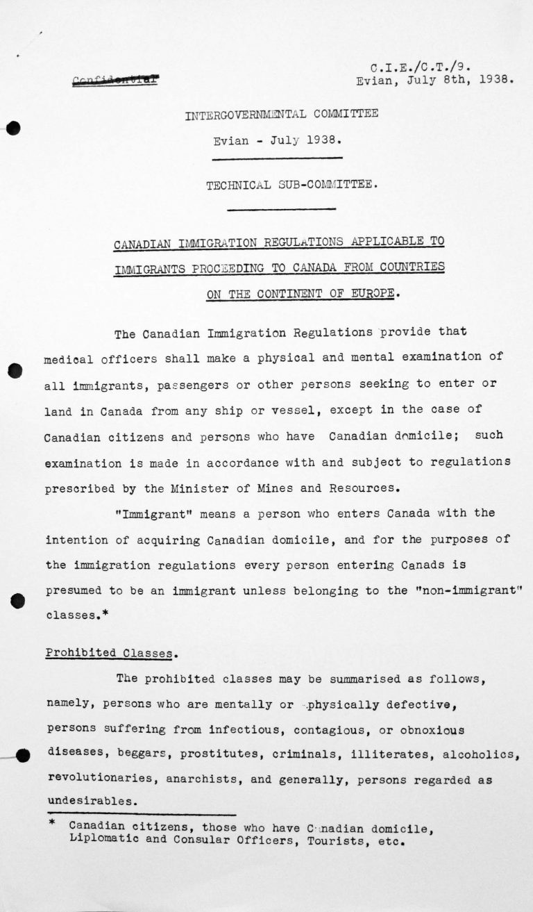 Report for the Technical Sub-Committee on Canadian immigration regulations applicable to immigrants proceeding to Canada from countries on the continant of Europe, July 8, 1938, p. 1/3 Franklin D. Roosevelt Library, Hyde Park, NY