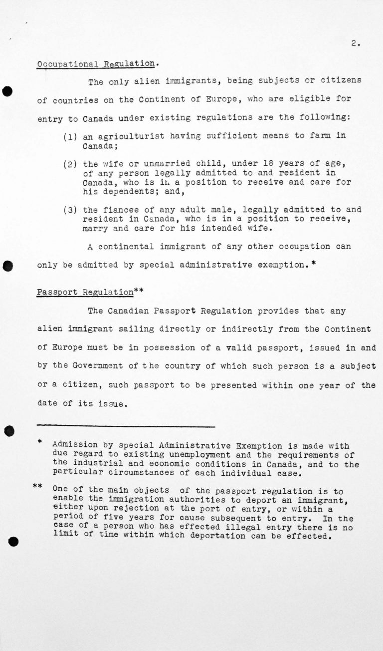 Report for the Technical Sub-Committee on Canadian immigration regulations applicable to immigrants proceeding to Canada from countries on the continant of Europe, July 8, 1938, p. 2/3 Franklin D. Roosevelt Library, Hyde Park, NY