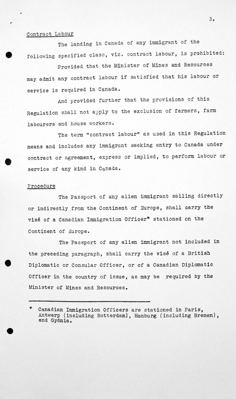 Report for the Technical Sub-Committee on Canadian immigration regulations applicable to immigrants proceeding to Canada from countries on the continant of Europe, July 8, 1938, p. 3/3 Franklin D. Roosevelt Library, Hyde Park, NY