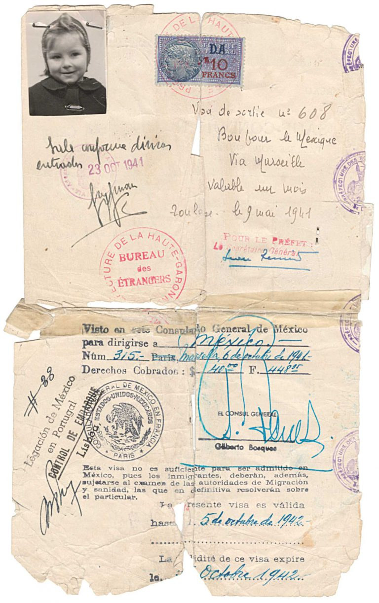 Französisches Aus- und mexikanisches Einreisevisum für Marie-Louise Abusch, 9. Mai 1941 – 5. Oktober 1942 Marie-Louise Abusch ist die dreijährige Tochter des kommunistischen Redakteurs Alexander Abusch. Abusch ist 1933 ins Pariser Exil gegangen, wo 1938 seine Tochter geboren wird. Akademie der Künste, Berlin