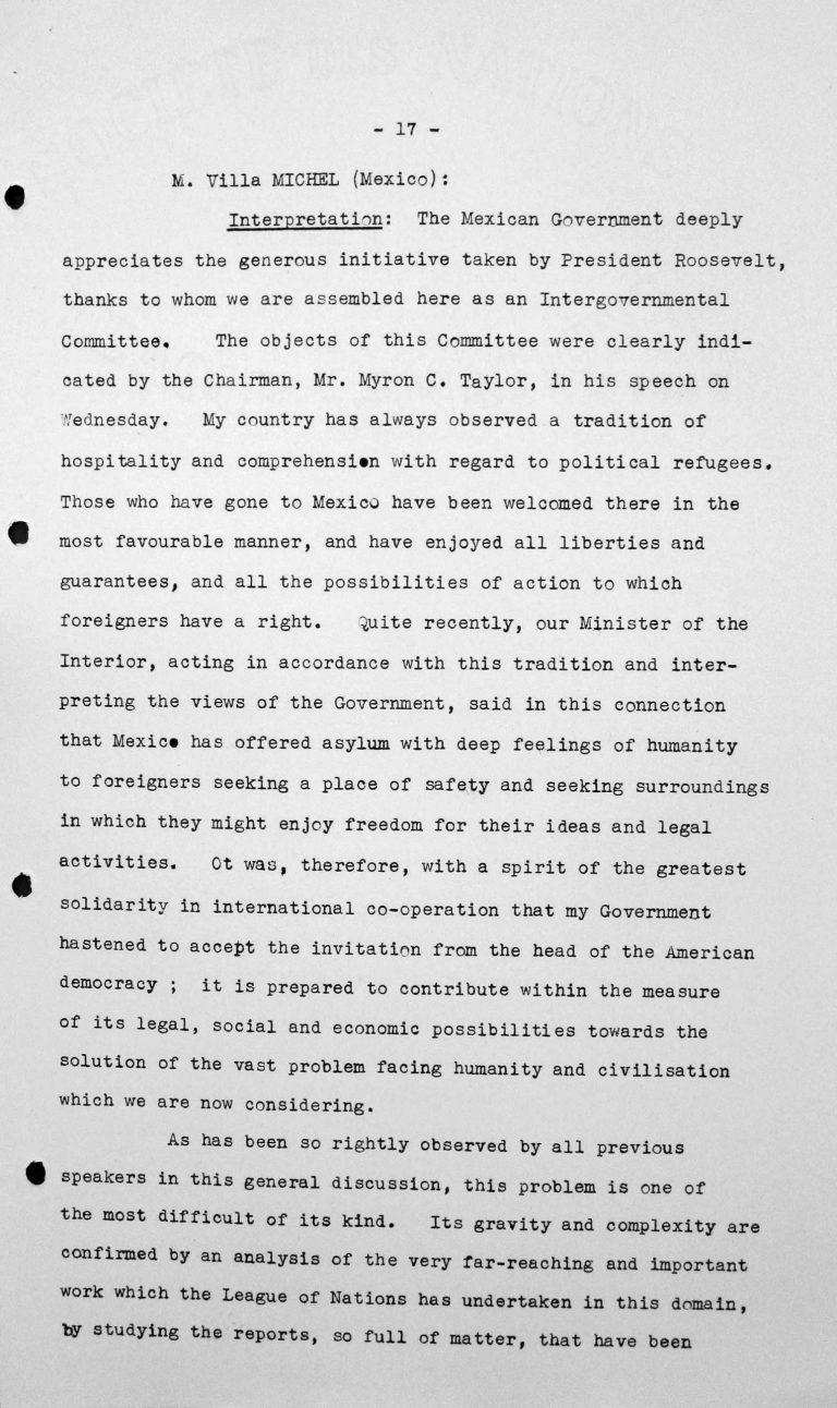 Rede von Primo Villa Michel (Mexiko) in der öffentlichen Sitzung am 9. Juli 1938, 11 Uhr, S. 1/4 Franklin D. Roosevelt Library, Hyde Park, NY